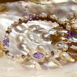 Arpaia pearl, glass & crystal stretch bracelet