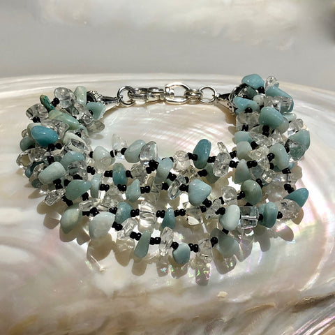 "8.5"" Length 5-Strand Bracelet with Amazonite, Jade, Rock Crystal Quartz & Black Onyx Gemstones and Large 925 Sterling Silver Swivel Lobster Clasp"