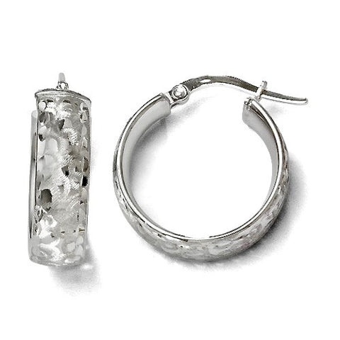 0353cfce55a56 Leslie's Rhodium Plated Diamond Cut & Brush Patterned 14K White Gold Hinged  Hoop Earrings