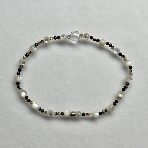 "Arpaia ""Moon Water"" beachlove stretch bracelet with white topaz & multi-color mother of pearl gemstone beads"