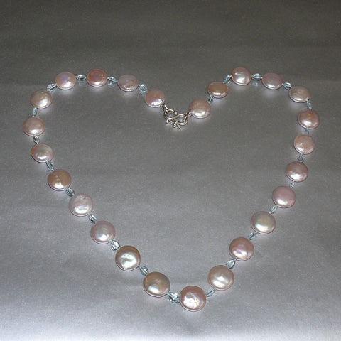 "23"" Pink Coin Pearl Aquamarine Necklace / Arpaia"