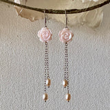 Floral Carved Natural Pink Mother of Pearl Long Dangle Earrings with Pink Cultured Freshwater Pearls / Rhodium-Plated 925 Sterling Silver