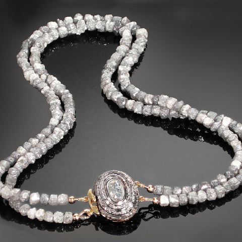 """Rain"" Fancy Gray Rough Diamond Necklace / Arpaia"