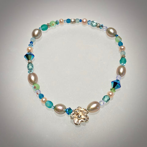 """Seychelles"" beachlove stretch bracelet by Arpaia with cultured pearls, glass, Swarovski crystal, and fine silver."