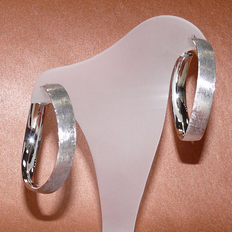 Arpaia Lang Dual Finish Sterling Twist Hoop Earrings