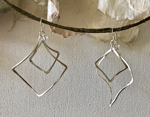Brushed Finish Sterling Silver Contoured Double Open Square Dangle Earrings