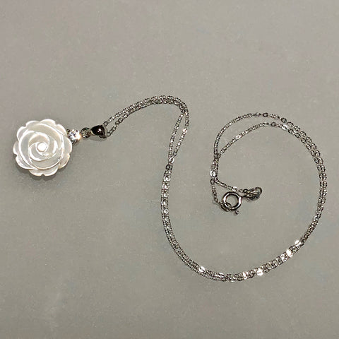 15mm White Mother of Pearl Rose Carved Pendant with CZ on Sterling Chain / Arpaia Jewelry
