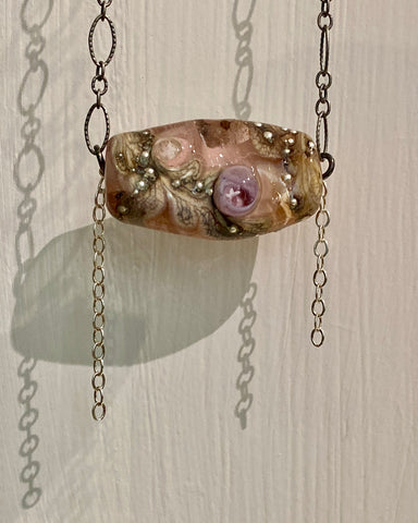 """Pink River Dolphin"" beachlove necklace by Arpaia ~ antiqued sterling silver with artisan-crafted glass"