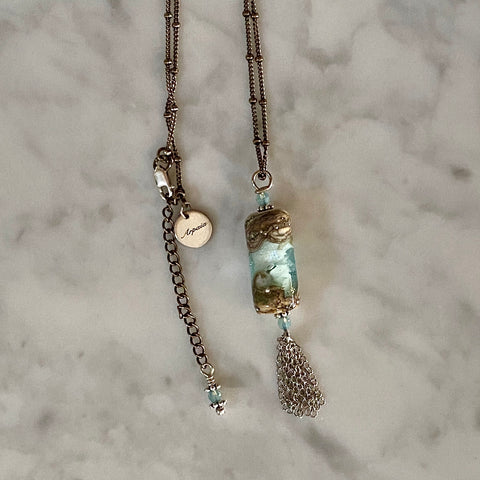 "Arpaia Jewelry ""Aqua Bequia Breeze"" beachlove necklace in antiqued silver with handmade blue glass pendant"