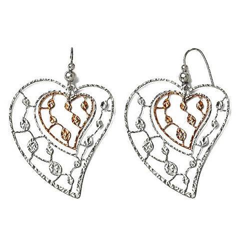 Italian Rhodium Plated Dual-Tone White/Rose Sterling Silver Leaf Motif Fluttering Hearts Dangle Earrings