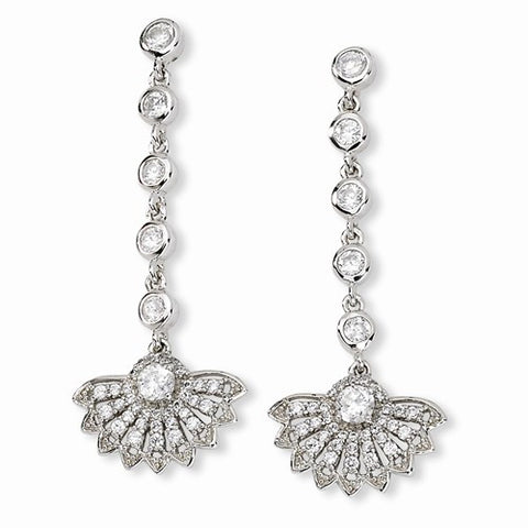 Designer Cheryl M. Rhodium-Plated Sterling Silver Open Fan Design Dangle Earrings with Brilliant Cubic Zirconia
