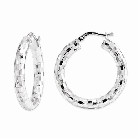 Rhodium Plated Sterling Silver Diamond Cut Hinged Hoop Earrings Made in Italy