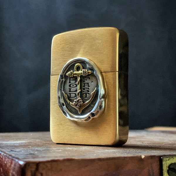 HOLD FAST Wax Seal 1941 Zippo Lighter - Brass Anchor / Sterling Wax Seal