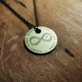 "AMOR VINCIT OMNIA ""Love Conquers All"" - Infinity Knot Brass Coin Necklace - Custom Initials"