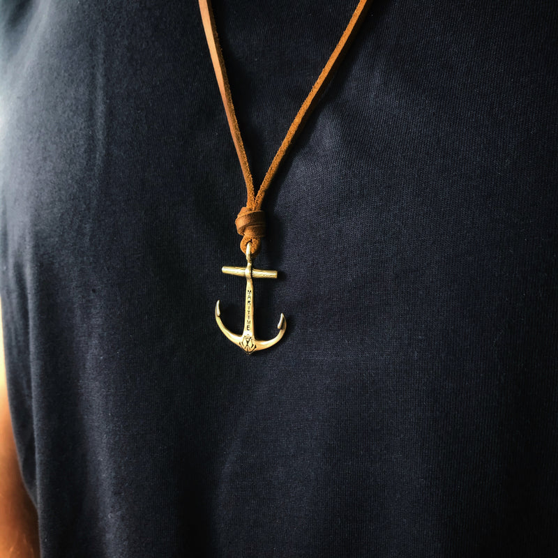 Brass or Sterling Silver Anchor Necklace - Caramel Kodiak Leather Cord
