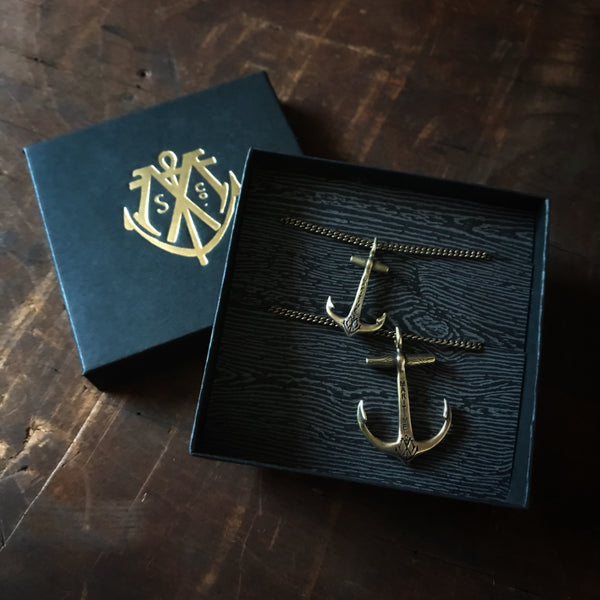 Matching Anchor Necklace Set - Brass or Sterling Silver