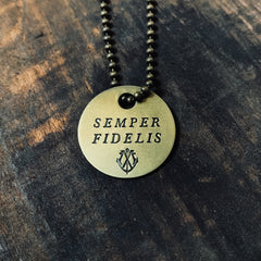 "SEMPER FIDELIS Coin Necklace - ""Always Faithful"""