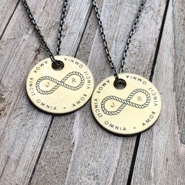 "AMOR VINCIT OMNIA ""Love Conquers All"" - Infinity Knot Brass Coin Necklace - Custom Matching Set"