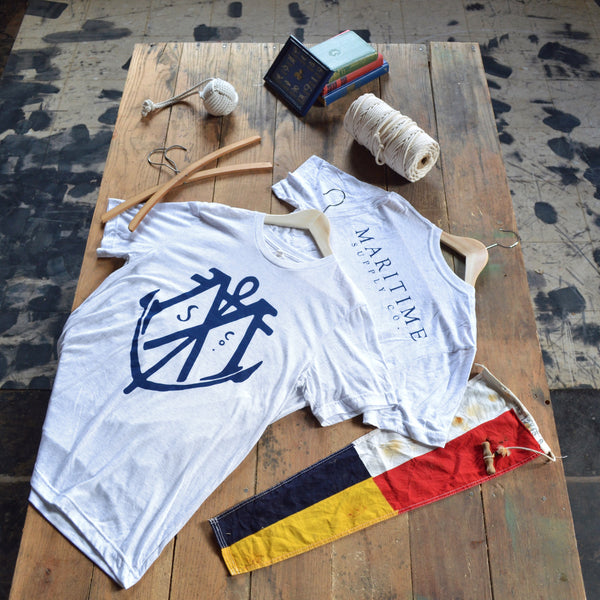 White Fleck - Maritime Logo Tee - Maritime Supply Co  - 1