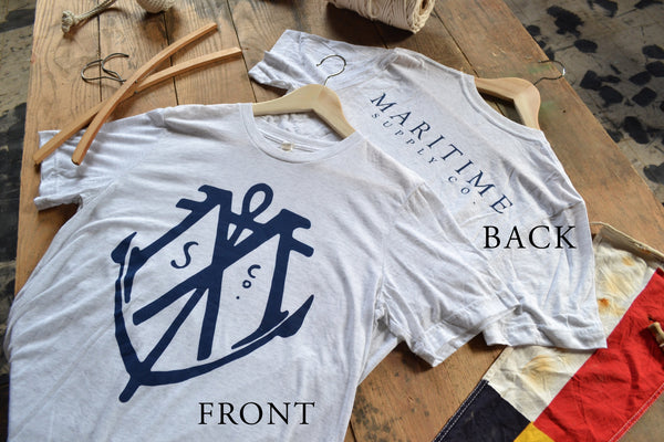 White Fleck - Maritime Logo Tee - Maritime Supply Co  - 2