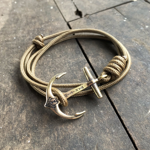 Brass Maritime Anchor Bracelet - Coyote Brown Mil Spec Cord