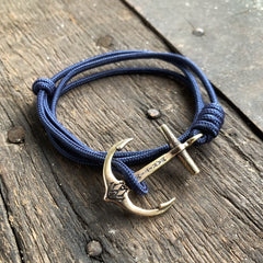 Brass Maritime Anchor - Navy Blue Mil Spec Cord