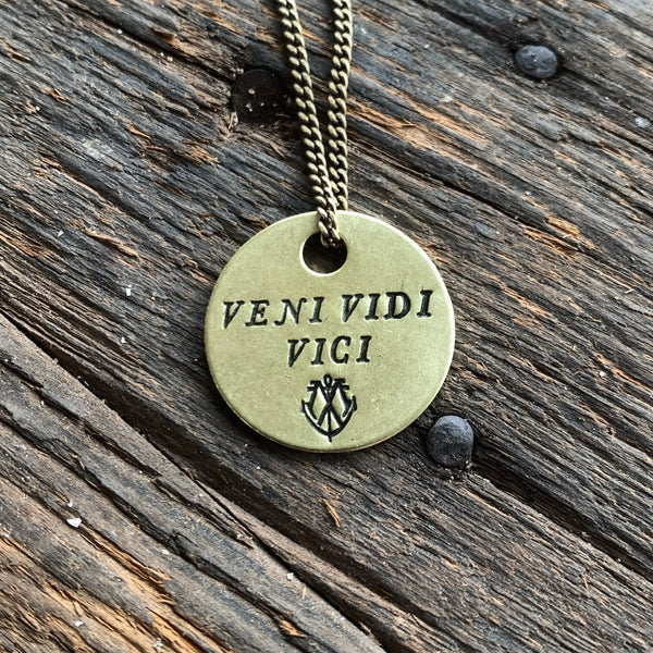 "VENI VIDI VICI Coin Necklace - ""I came, I saw, I conquered"""