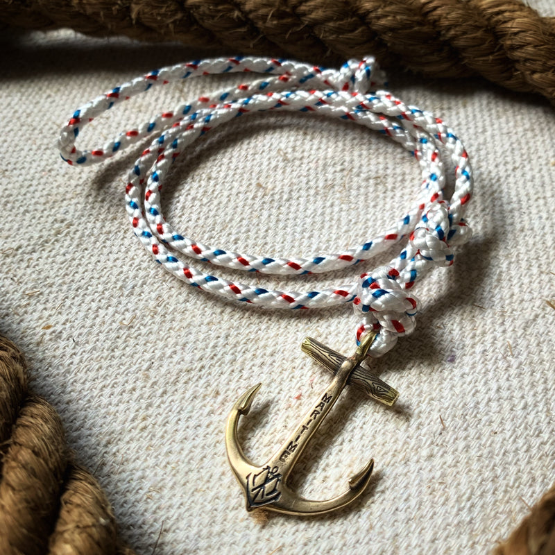 Brass Anchor Bracelet - Multi-Colored Nautical Rope