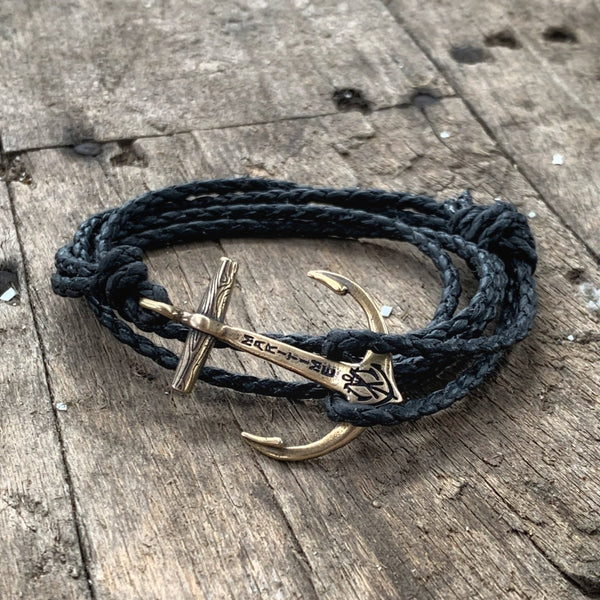 Brass Anchor Bracelet - Braided Waxed Black Cord