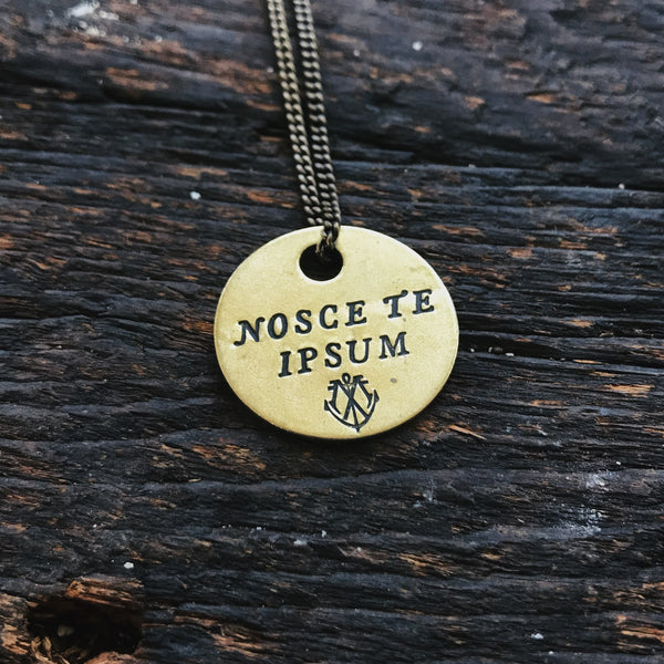 "NOSCE TE IPSUM ""Know Thyself"" - Brass Coin Necklace"