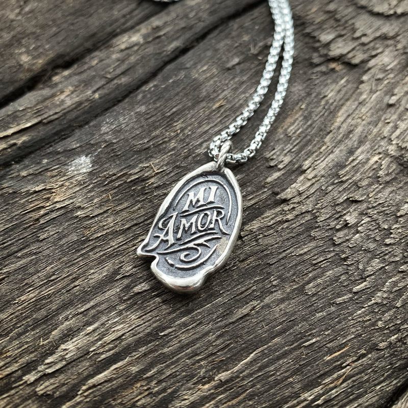 Double Sided Wax Seal Necklace - MI AMOR / Harp