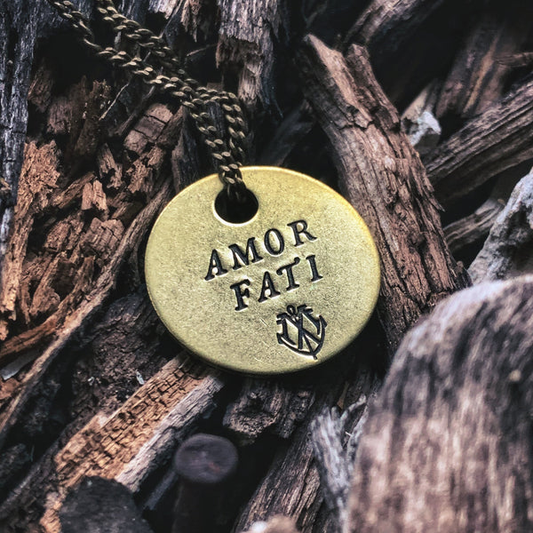 "AMOR FATI Brass Coin Necklace - ""Love Your Fate"""