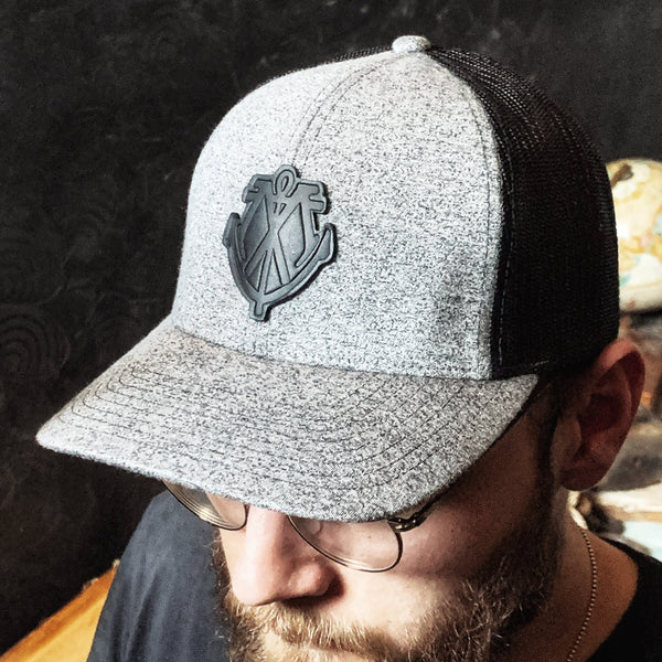 Leather Patch Hat - Black Maritime Logo