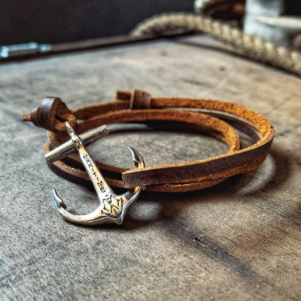 Sterling Anchor Bracelet - Brown Kodiak Leather Cord