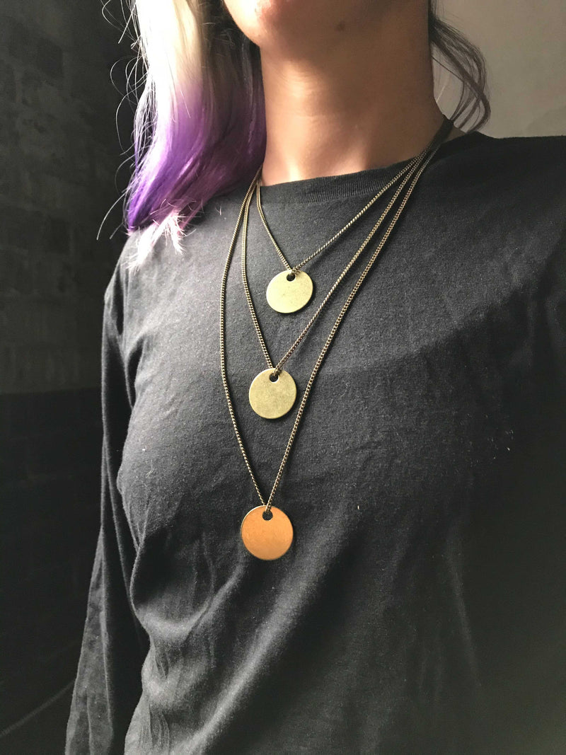 STAY THE COURSE FOR HORIZONS Quote - Distressed Thick Coin Necklace