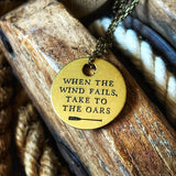 TAKE TO THE OARS - Brass Coin Necklace