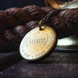 "POST TENEBRAS LUX ""After Darkness Comes Light"" - Distressed Thick Coin Necklace"