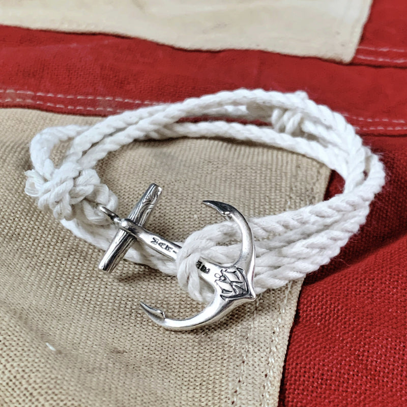 Anchor Bracelet - Cotton Nautical Rope, Brass or Sterling Silver Anchor