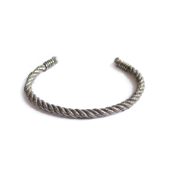 Thin Twisted Rope Cuff - Silver - Maritime Supply Co