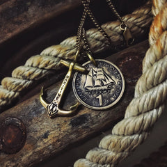 Mini Brass Maritime Anchor with Greek Ship coin