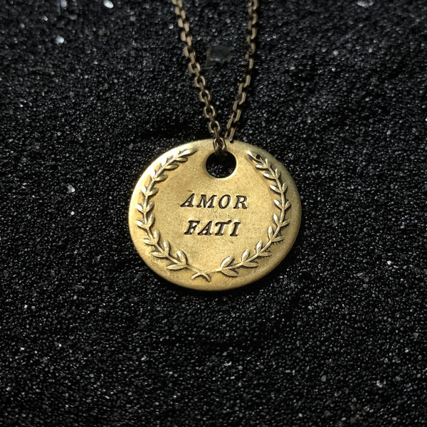 "AMOR FATI ""Love Your Fate"" - Double Stamped Brass Coin Necklace"
