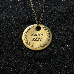 "AMOR FATI DOUBLE STAMPED Brass Coin Necklace - ""Love Your Fate"""