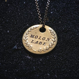 "MOLON LABE DOUBLE STAMPED Brass Coin Necklace - ""Come and Take It"""