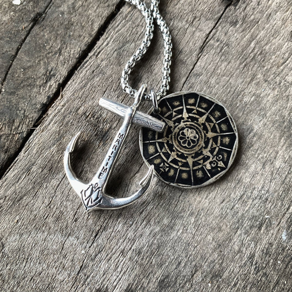 Sterling Anchor Necklace & Portuguese Compass Coin