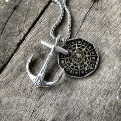 Sterling Silver Maritime Anchor with Portuguese Compass coin