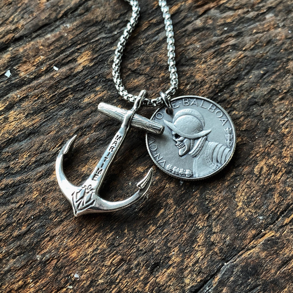 Sterling Anchor Necklace & Balboa Skull Coin