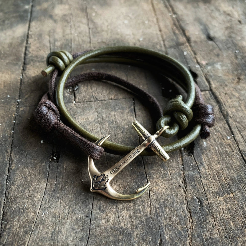 Brass Anchor Bracelet - Hand Waxed Brown Cord with Green Leather Cord