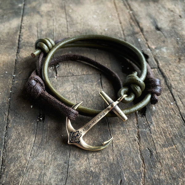 Brass Maritime Anchor - Hand Waxed Cord with Green Leather Cord