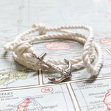 Mini Anchor Bracelet - Cotton Nautical Rope, Brass or Sterling Silver Anchor