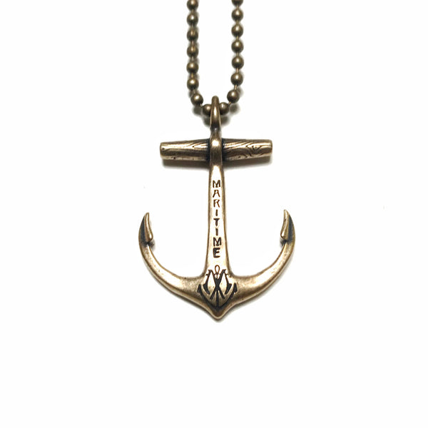 Solid Brass Maritime Anchor Necklace